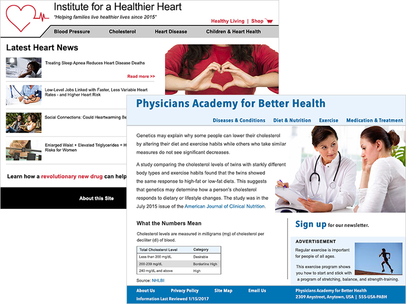 This tutorial reviews two examples of health information Web sites: 'Institute for a Healthier Heart' and 'Physicians Academy for Better Health'
