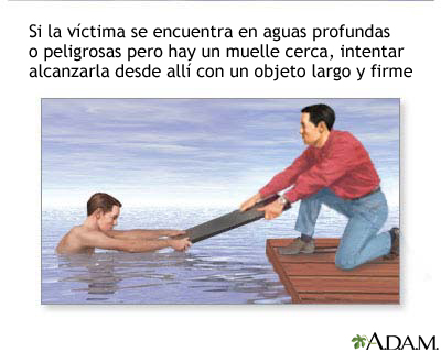 Rescate para ahogamiento; ayuda extendiendo la mano
