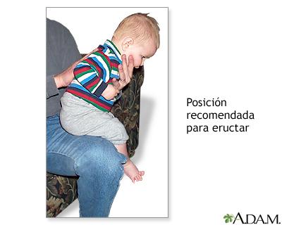 Posición recomendada para hacer eructar a los bebés.
