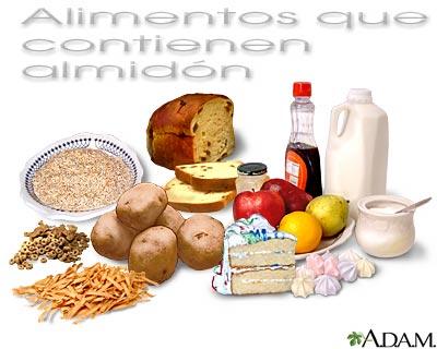 Alimentos que contienen almidón