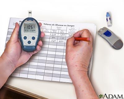 Medición del nivel de la glucosa en la sangre: registre su lectura