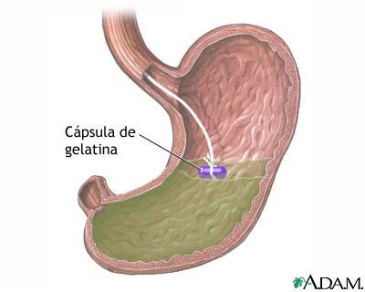 Cápsula de gelatina en el estómago